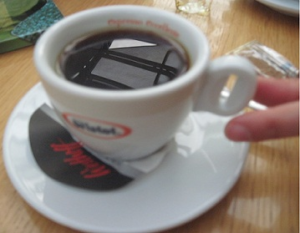 Everyday usability: a coffee cup with handle in form of a coffee bean